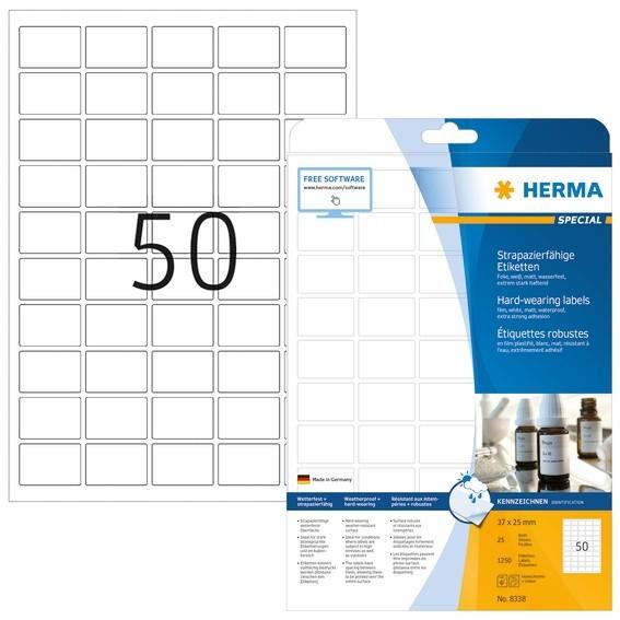 HERMA 8338 Etiketten strapazierfähig A4 37x25 mm weiß stark haft