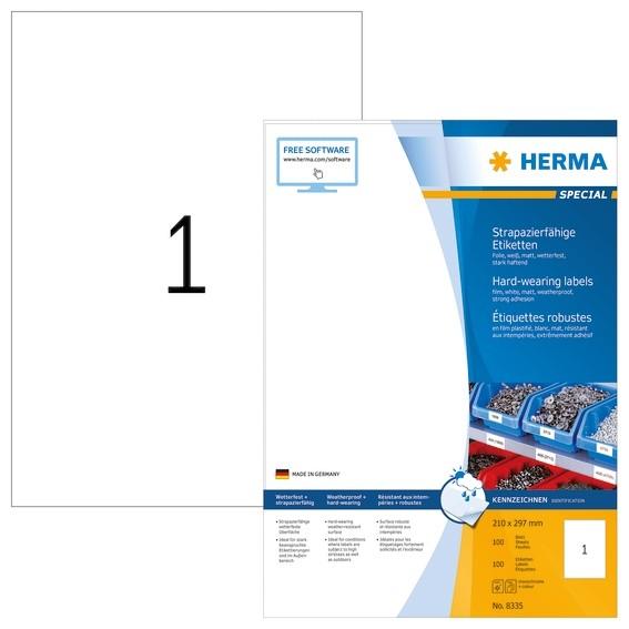 HERMA 8335 Etiketten strapazierfähig A4 210x297 mm weiß stark ha