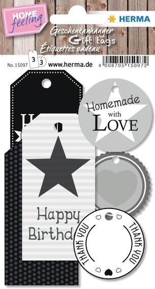 HERMA 15097 5x HOME Geschenkanhänger Black & White