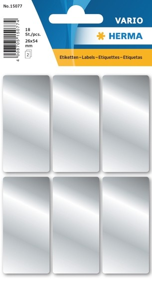 HERMA 15077 10x Silberetiketten 26 x 54 mm 18 St.