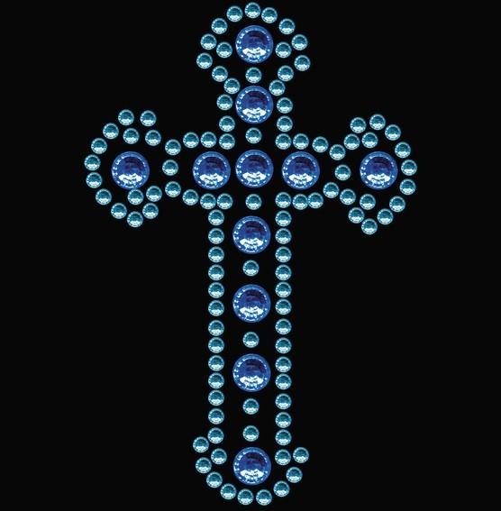 HERMA 15372 3x Crystal Sticker Kreuz Blau