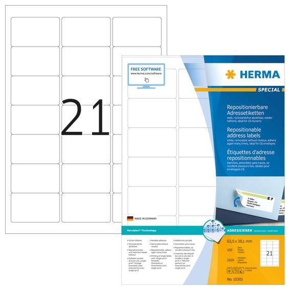 HERMA 10301 Repositionierbare Adressetiketten A4 63,5x38,1 mm we