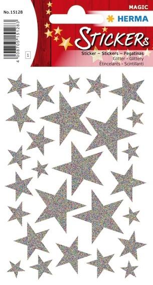 HERMA 15128 10x Sticker MAGIC Sterne Silber, Glittery