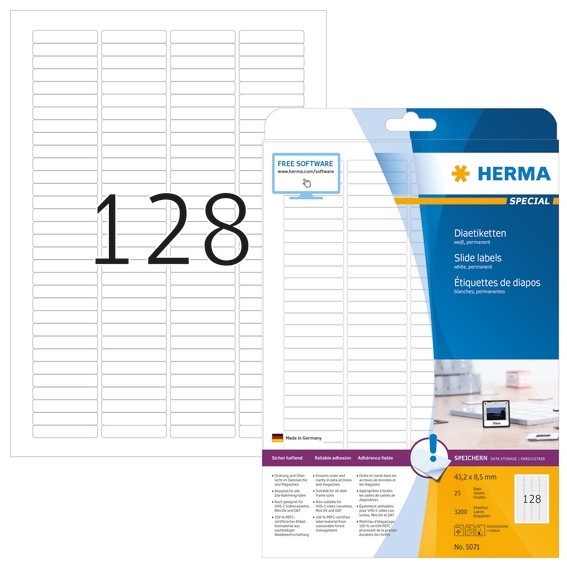 HERMA 5071 Dia-Etiketten A4 43,2x8,5 mm weiß Papier matt 3200 St
