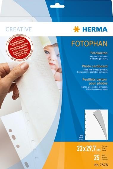 HERMA 7578 Fotokarton, 230x297 mm, weiß, 25 Blatt