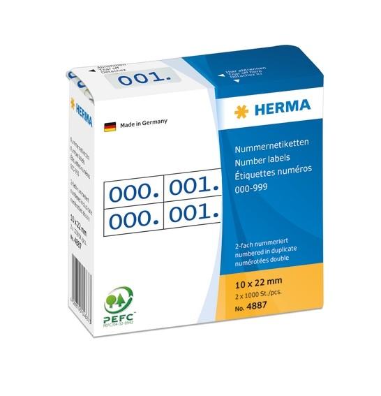 HERMA 4887 Nummernetiketten doppelt selbstklebend 10x22 mm Aufdr