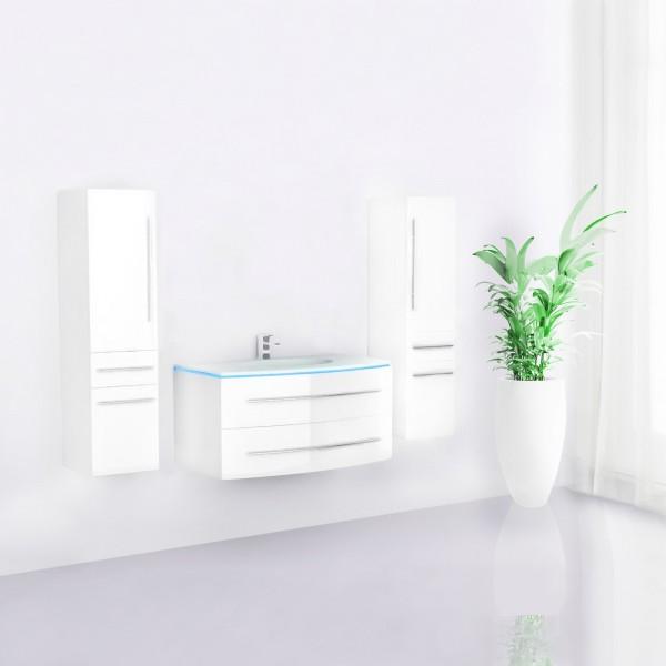 Midori Badmöbel Set Hochschränke Weiß Hochglanz 90 cm