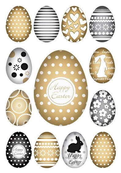 HERMA 1726 10x Sticker DECOR Happy Easter Goldeier