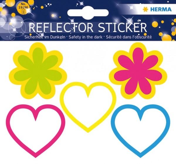 HERMA 19196 5x Reflektorsticker Herzen + Blumen