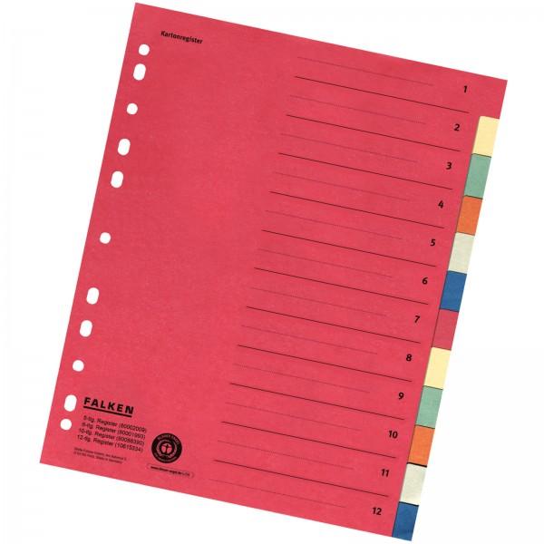 Karton-Register DIN A4 aus Manilakarton 220 g/m² 12-teilig 6-farbig