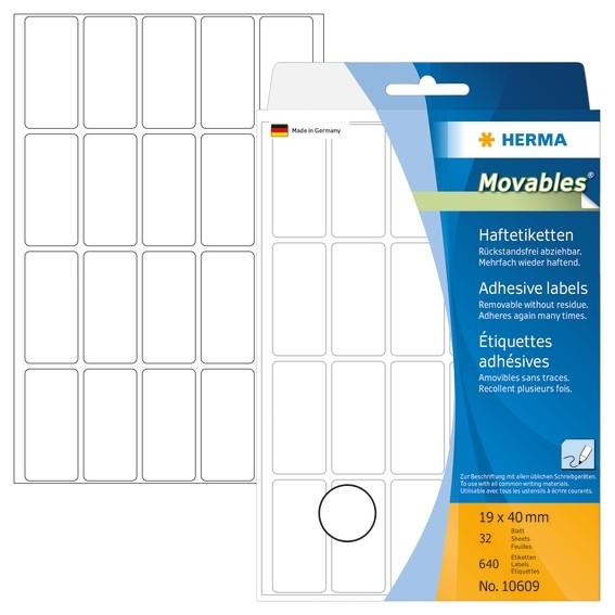 HERMA 10609 Vielzwecketiketten 19x40 mm weiß Movables/ablösbar P