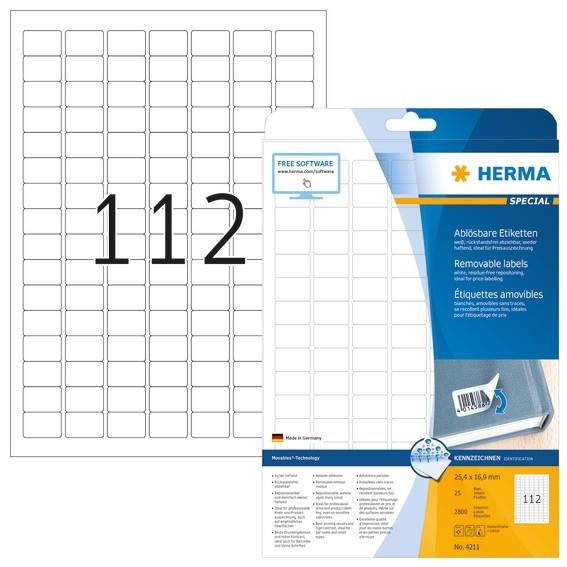 HERMA 4211 Ablösbare Etiketten A4 25,4x16,9 mm weiß Movables/abl