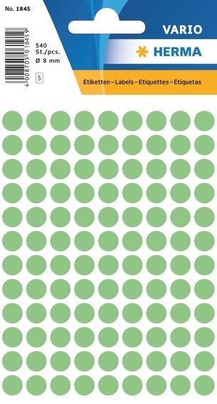 HERMA 1845 Vielzwecketiketten Ø 8 mm rund grün Papier matt 5400