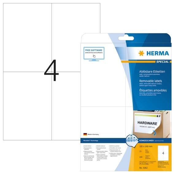 HERMA 5082 Ablösbare Etiketten A4 105x148 mm weiß Movables/ablös