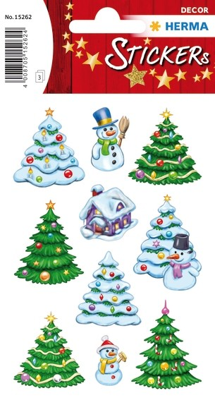 HERMA 15262 10x Sticker DECOR Weihnachtswinterwald