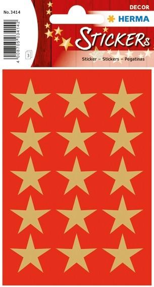 HERMA 3414 10x Sticker DECOR Sterne 5-Zackig, gold Ø 22 mm