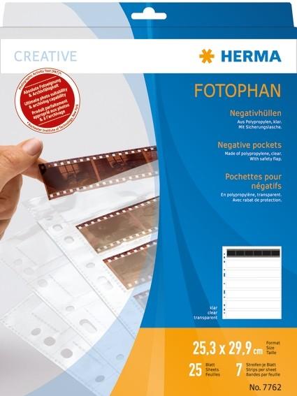 HERMA 7762 Negativhüllen, transparent, für 7 x 6 Streifen, 25 St