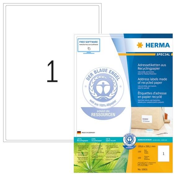 HERMA 10831 Adressetiketten A4 199,6x289,1 mm weiß Recyclingpapi