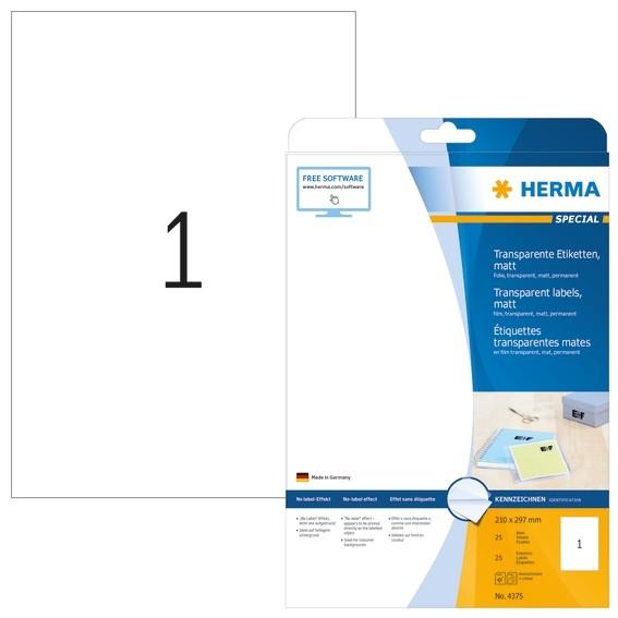 HERMA 4375 Etiketten transparent matt A4 210x297 mm Folie 25 St.