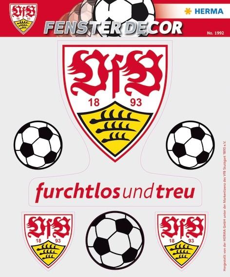 HERMA 1992 Fensterdecor VfB 25 x 35 cm, Logo Bälle