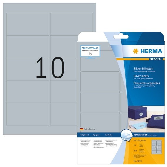 HERMA 4099 Etiketten A4 96x50,8 mm silber Folie glänzend 250 St.