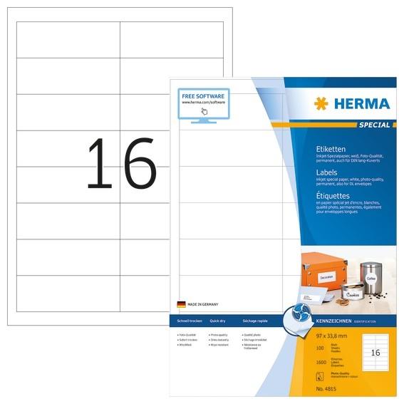 HERMA 4815 Inkjet-Etiketten A4 97x33,8 mm weiß Papier matt 1600