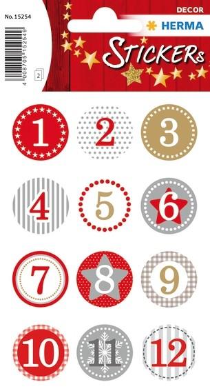 HERMA 15254 10x Sticker DECOR Adventskalender10x Sticker 1-24, R