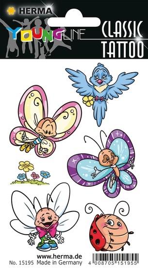 HERMA 15195 10x CLASSIC Tattoo Colour Schmetterling & Friends