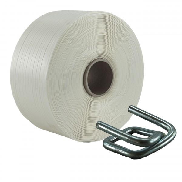16 mm Textil Umreifung Set Umreifungsband Metallklemmen phosphat