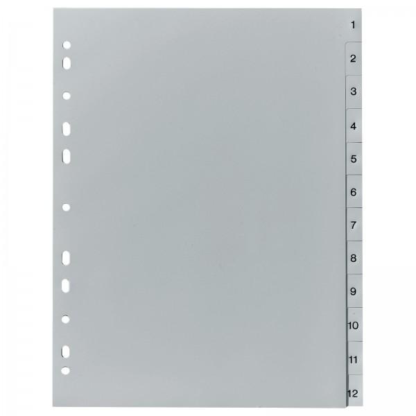 Register DIN A4 PP 12-teilig 1-12 Zahlen Grau