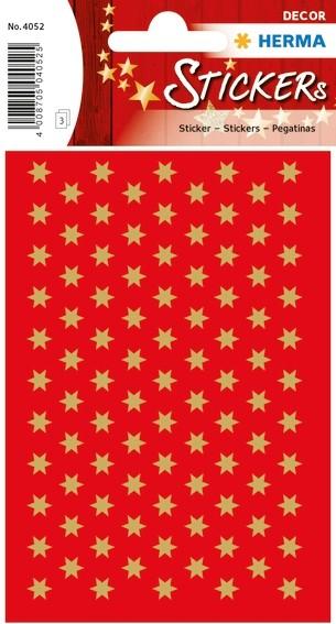 HERMA 4052 10x Sticker DECOR Sterne 6-zackig, gold Ø 6 mm