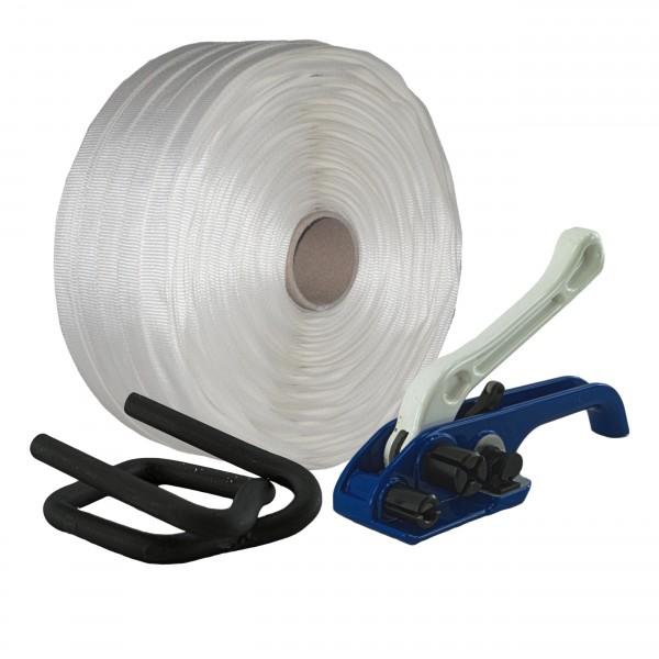 25 mm Textil gewebt Umreifung Set Umreifungsband Bandspanner Met