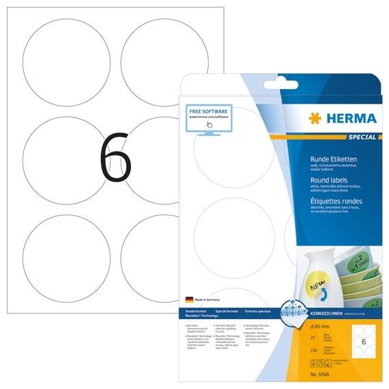 HERMA 5068 Ablösbare Etiketten A4 Ø 85 mm rund weiß Movables/abl