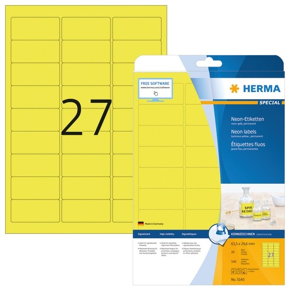 HERMA 5140 Neonetiketten A4 63,5x29,6 mm neon-gelb Papier matt 5