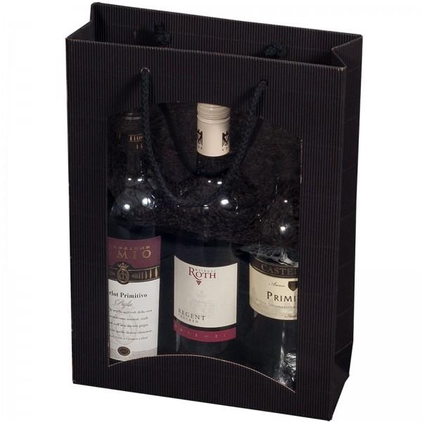 Geschenk-Flaschentasche für 3 Weinflaschen mit Sichtfenster Schwarz
