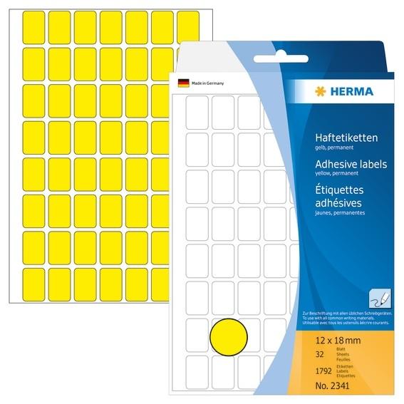 HERMA 2341 Vielzwecketiketten 12x18 mm gelb Papier matt Handbesc