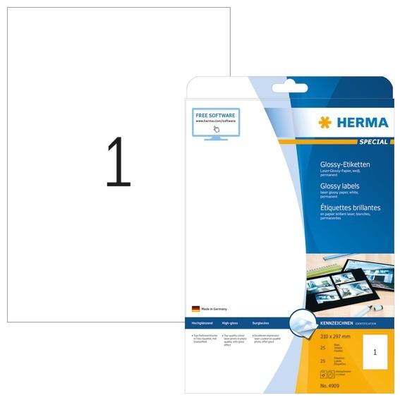 HERMA 4909 Etiketten A4 210x297 mm weiß Papier glänzend 25 St.