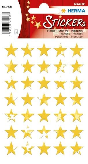 HERMA 3998 10x Sticker MAGIC Sterne 5-zackig, gold, Prismaticfol