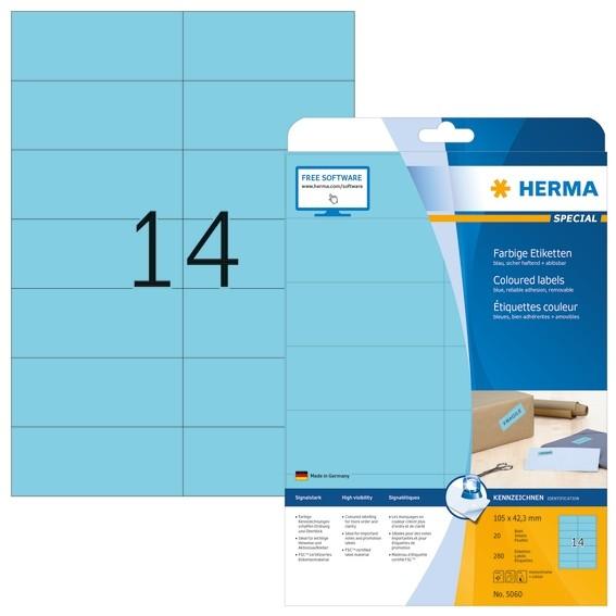 HERMA 5060 Farbige Etiketten A4 105x42,3 mm blau ablösbar Papier