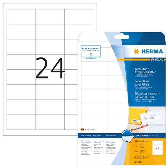 HERMA 4227 Korrektur-/Abdecketiketten A4 64,6x33,8 mm weiß Papie