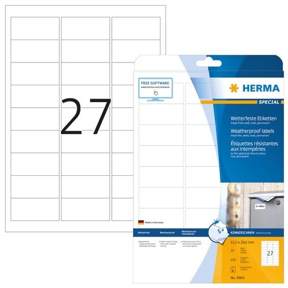 HERMA 4864 Inkjet-Etiketten A4 63,5x29,6 mm weiß Folie matt wett