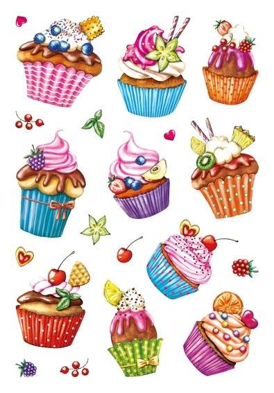 HERMA 3387 10x Sticker DECOR Cupcakes, Folie beglimmert