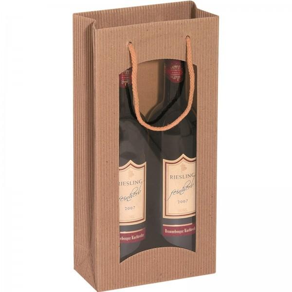 Geschenk-Flaschentasche für 2 Weinflaschen mit Sichtfenster Natur