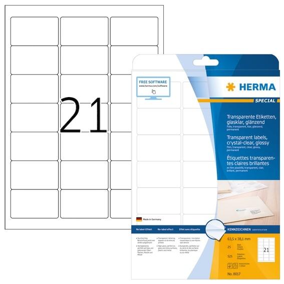 HERMA 8017 Etiketten transparent glasklar A4 63,5x38,1 mm transp