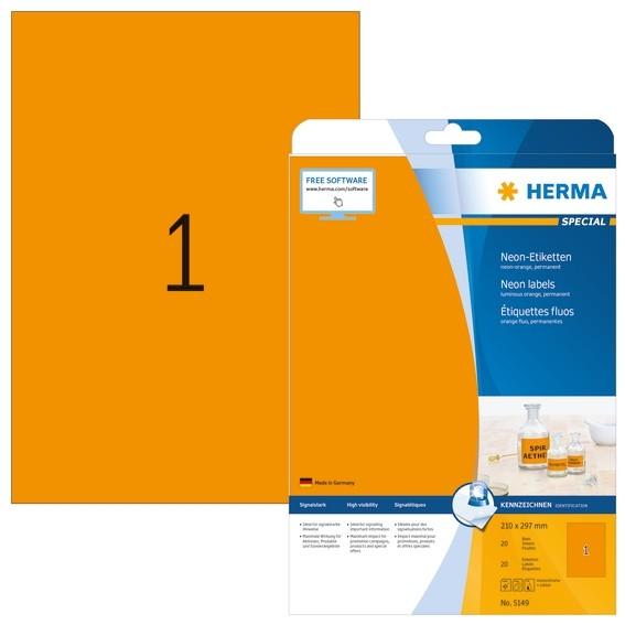 HERMA 5149 Neonetiketten A4 210x297 mm neon-orange Papier matt 2