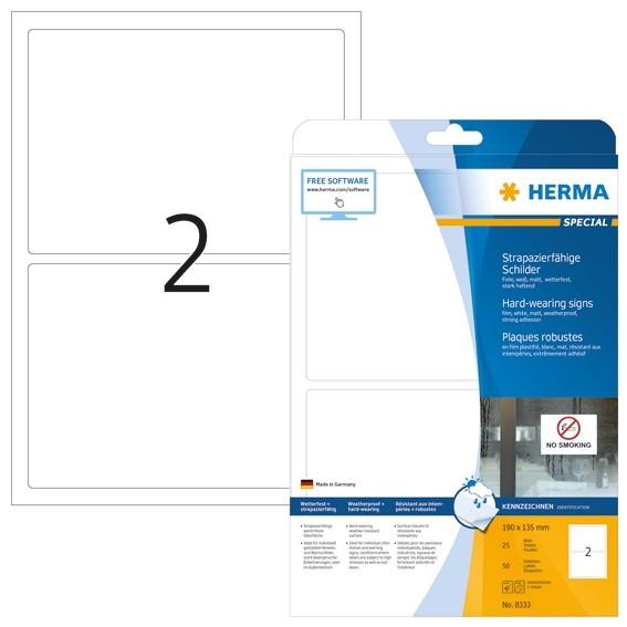 HERMA 8333 Schilder strapazierfähig A4 190x135 mm weiß stark haf