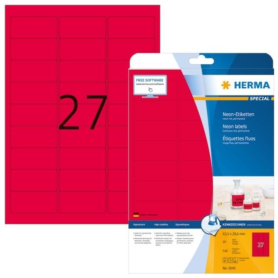 HERMA 5045 Neonetiketten A4 63,5x29,6 mm neon-rot Papier matt 54