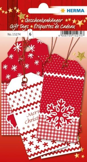HERMA 15274 5x Geschenkanhänger Weihnachten White Christmas 8 x