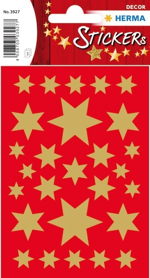 HERMA 3927 10x Sticker DECOR Sterne 6-zackig, gold