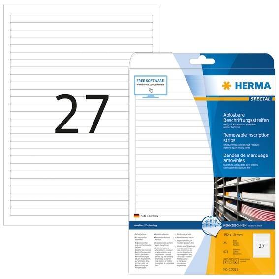 HERMA 10022 Ablösbare Beschriftungsstreifen A4 192x10 mm weiß Mo